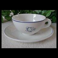 "Gustavsberg Benporslin Teacup & Saucer with ""SCS"" Logo"