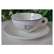 "Gustavsberg Benporslin Teacup & Saucer with ""SCS"" Logo"