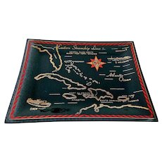 Eastern Steamship Lines Multi-Colored Smoke Black Glass Tray