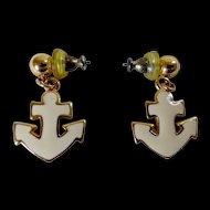 Napier Cream Enamel Nautical Anchor Earrings
