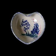 "Yesteryears Pottery ""With Love From Texas"" Heart Shaped Dish"