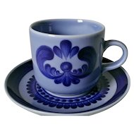 Kahla China GDR Blue Majolica Cup & Saucer Set