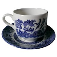 Churchill Blue Willow Cup & Saucer Set Georgian Shape