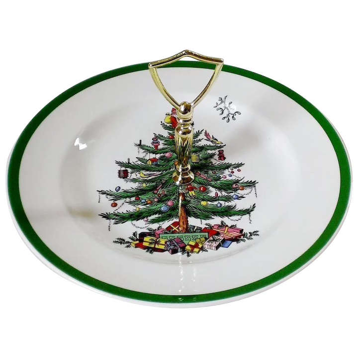 Spode Christmas Tree.Spode Christmas Tree Green Trim Round Serving Plate With Handle