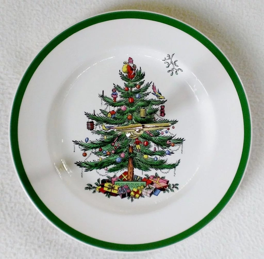 Spode Christmas Tree Green Trim Round Serving Plate With