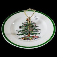 Spode Christmas Tree Green Trim Round Serving Plate with Handle