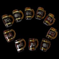 Vintage Benner Glass Siesta Ware Western Mug Set in Brown Amber Glass