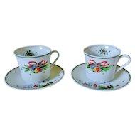Salem China Christmas Eve Porcelain Cup & Saucer Set of 2