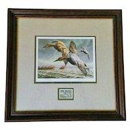 David A. Maass 1982 Migratory Bird Hunting & Conservation Signed, Framed Print & Stamp