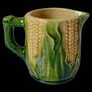 Vintage Majolica Corn Pitcher Creamer
