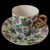 Inarco E-893 Demitasse Cup & Saucer Set Violets with Gold Trim