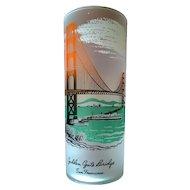 Libbey Golden Gate Bridge San Francisco California Souvenir Frosted Highball glass 50's - 60's