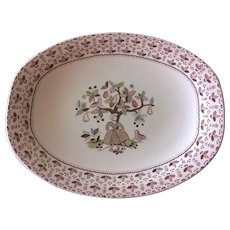 """Johnson Brothers Bros Sugar & Spice Brown 12"""" Oval Serving Platter"""