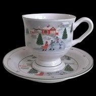 Sango China Silent Night Cup & Saucer Set