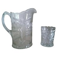 Indiana Glass Narcissus Spray Pitcher & Open Spooner