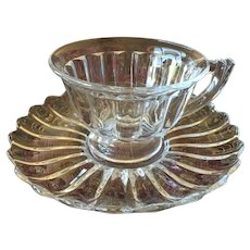 Heisey Crystolite Footed Cup & Saucer Set