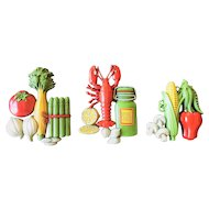 Homco 3 Fruit & Vegetable Wall Plaques 1975