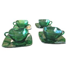 Anchor Hocking Forest Green Cups & Saucers