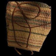 Woven Straw Basket Backpack Napsack Purse