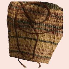 Woven Straw Basketweave Backpack Napsack Purse
