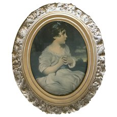 Oval Framed Victorian Young Girl Print Picture