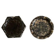 Stangl Black Gold Ashtray Set
