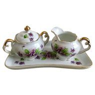 Vintage Japanese Violets Creamer & Sugar w Tray Set
