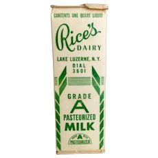 Vintage Rice's Dairy Milk Carton Lake Luzerne