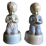 Roman Porcelain Praying Boy & Girl Music Box Set