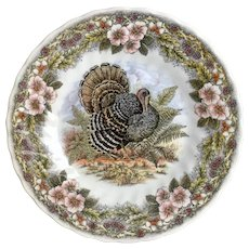 Churchill Turkey Multicolored Pattern Salad Plate ~ Thanksgiving