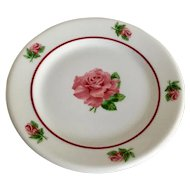 Syracuse China Pink Rose Bread Plate Set with Red Band