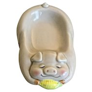 Lefton China Sleeping Pig Teabag Holder