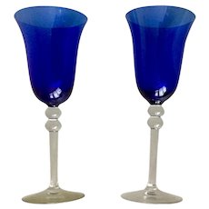 Elegant Cobalt Blue Glass Set with Double Ball Clear Stem