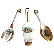 Royal China Colonial Gold Serving Set ~ Fork Spoon Salad and Cake Server