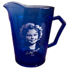 Hazel Atlas Shirley Temple Ritz Cobalt Blue Creamer
