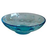 Hazel Atlas Capri Dots Turquoise Dessert Bowl Set