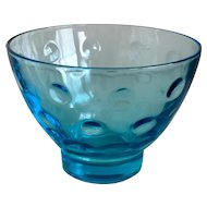Hazel Atlas Capri Dots Turquoise Sherbet/Old Fashioned Glass Set