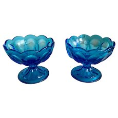 Anchor Hocking Fairfield Laser Blue Compote Set