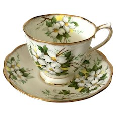 Royal Albert White Dogwood Footed Cup & Saucer Brushed Gold
