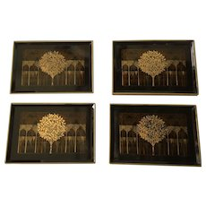 Otagiri Gold Tree Lacquer Snack Tray Set of 6