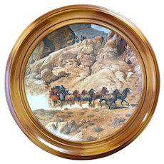 Wells Fargo Stagecoach Framed Plate
