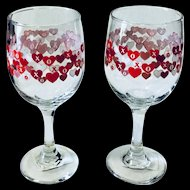 Red Hearts Love Goblets - Valentines Day- Set of 2 Greenbrier XO
