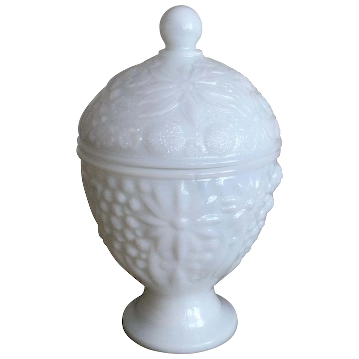 Avon Milk Glass Candy Dish With Lid Annies Avenue Antiques Ruby