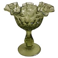 Fenton Thumbprint Colonial Green Round Compote