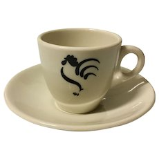 Sterling China Rooster Demitasse Cup & Saucer