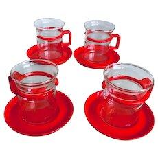 Bodum Bistro Red Tea Pot &Set of 4 Cups & Saucers