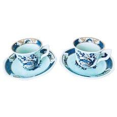 Adams China Ming Toi Blue Demitasse Set