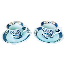 Adams China Ming Toi Blue Demitasse Set