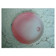 """Syracuse China Pink Airbrushed  """" F"""" Plate"""