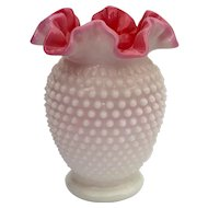 Fenton Hobnail Pink & White Vase